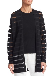 Saks Fifth Avenue COLLECTION Sheer Striped Open Cardigan