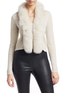 Saks Fifth Avenue COLLECTION Short Fox Fur-Trim Cashmere Cardigan