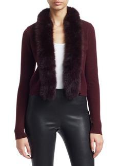 Saks Fifth Avenue COLLECTION Short Fox Fur-Trim Cashmere Cardigan