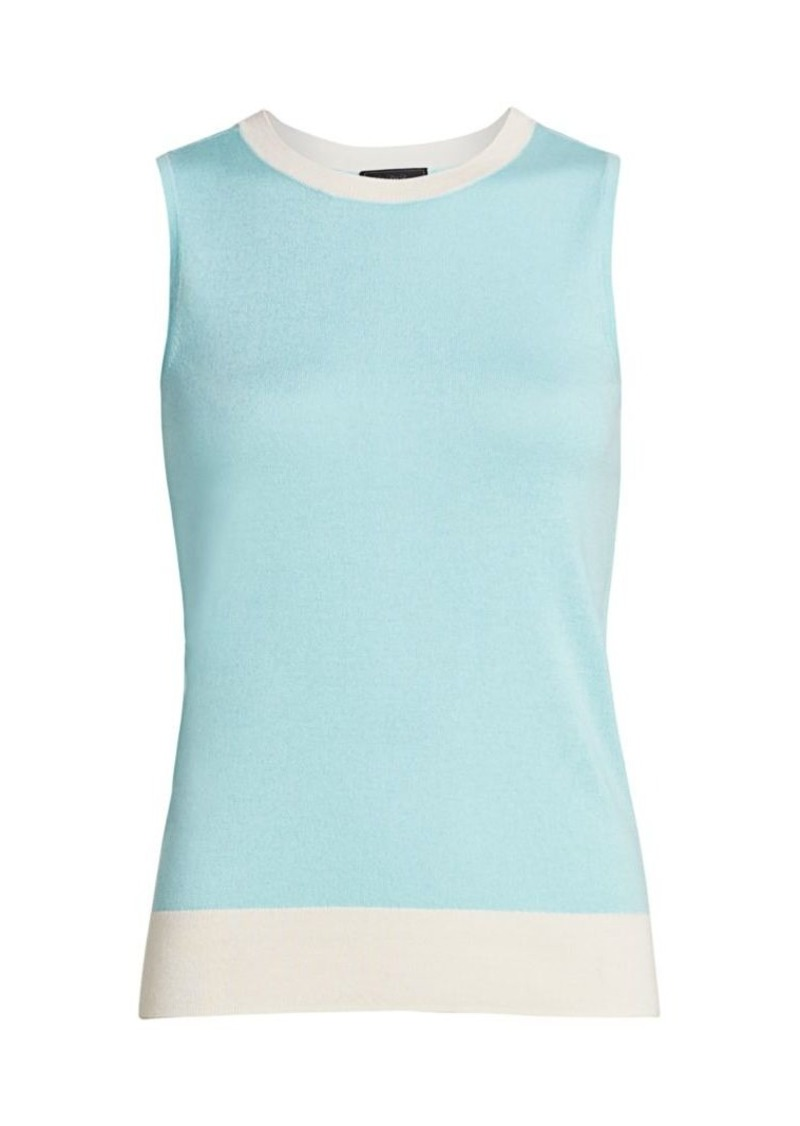 Saks Fifth Avenue COLLECTION Silk & Cashmere Bi-Color Shell