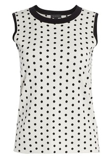 Saks Fifth Avenue COLLECTION Silk & Cashmere Polka Dot Jacquard Top