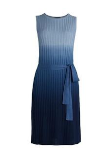 Saks Fifth Avenue COLLECTION Silk-Cashmere Dip-Dye Tie Waist Dress