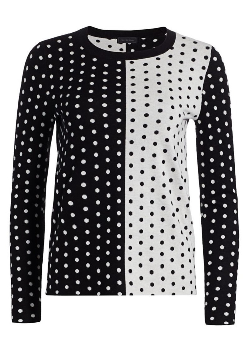 Saks Fifth Avenue Collection Silk Cashmere Polka Dot Jacquard Crew Sweater