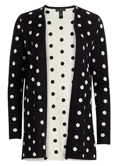 Saks Fifth Avenue Collection Silk Cashmere Polka Dot Jacquard Open Cardigan