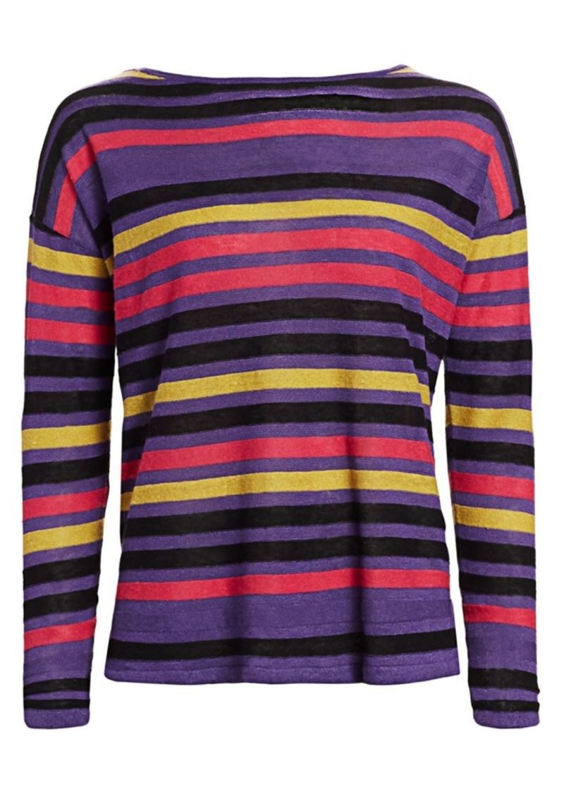 Saks Fifth Avenue COLLECTION Silk Linen Stripe Pullover