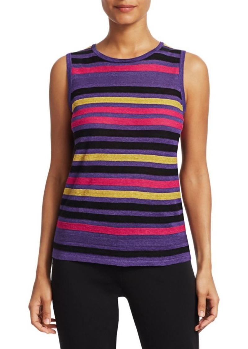 Saks Fifth Avenue COLLECTION Silk Linen Stripe Shell