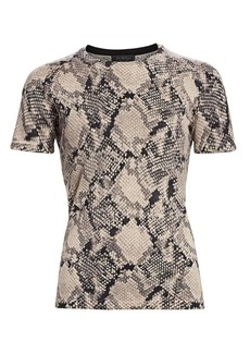 Saks Fifth Avenue COLLECTION Snakeskin Print Cashmere Short Sleeve Sweater