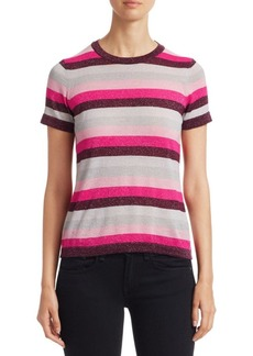 Saks Fifth Avenue COLLECTION Striped Lurex-Knit Merino Wool-Blend Tee