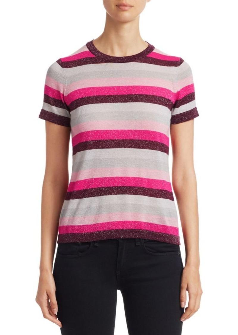 Saks Fifth Avenue COLLECTION Striped Lurex-Knit Merino Wool-Blend Tee