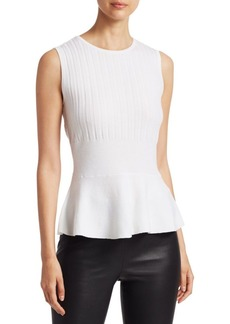 Saks Fifth Avenue COLLECTION Wool Elite Ribbed Sleeveless Peplum