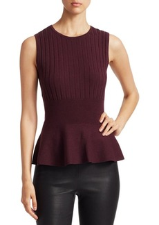 Saks Fifth Avenue COLLECTION Wool Elite Ribbed Sleeveless Peplum