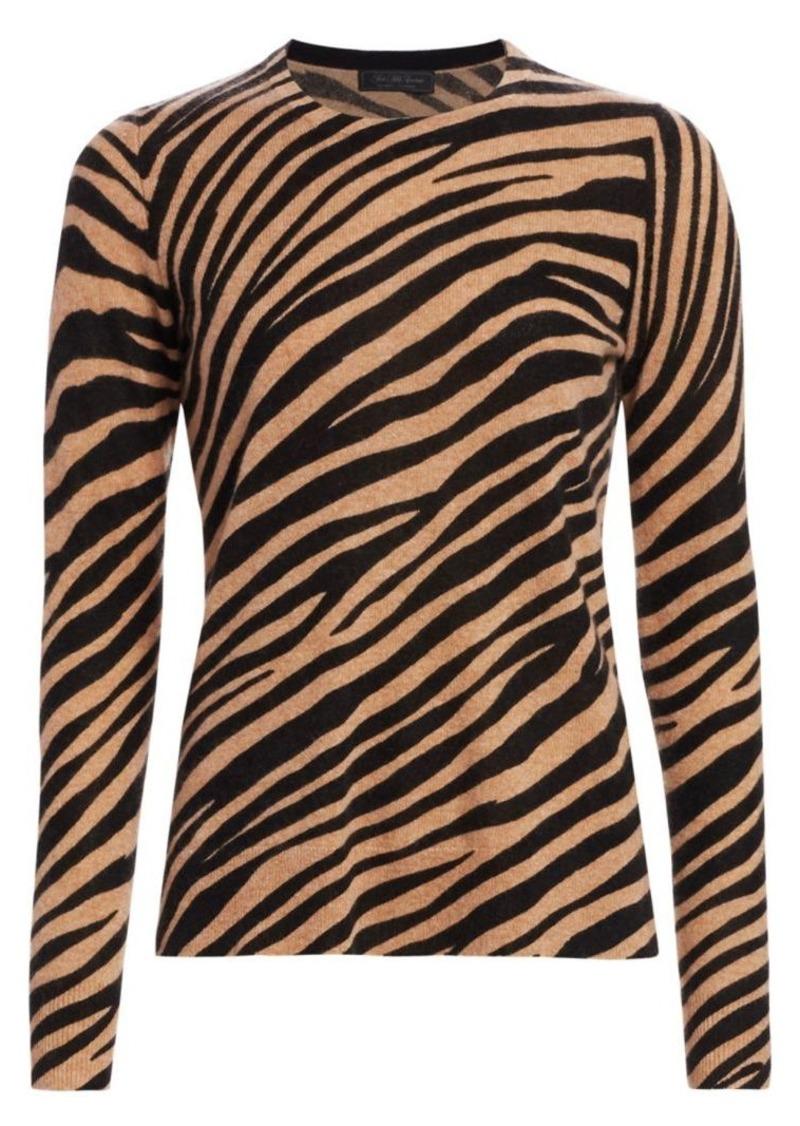 Saks Fifth Avenue COLLECTION Zebra Cashmere Crewneck Sweater