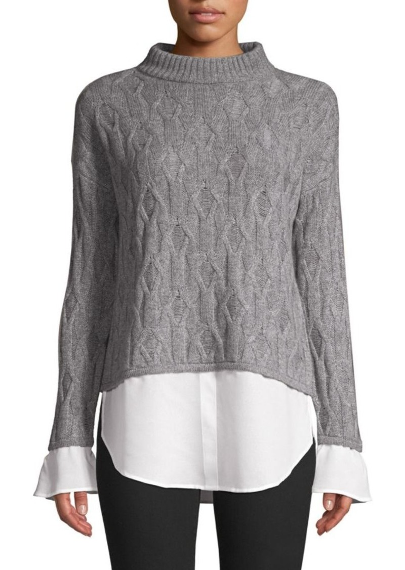 Saks Fifth Avenue Cropped Mixed Media 2Fer Shirt Sweater