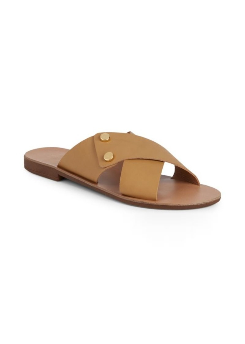Saks Fifth Avenue Cross-Band Leather Slides
