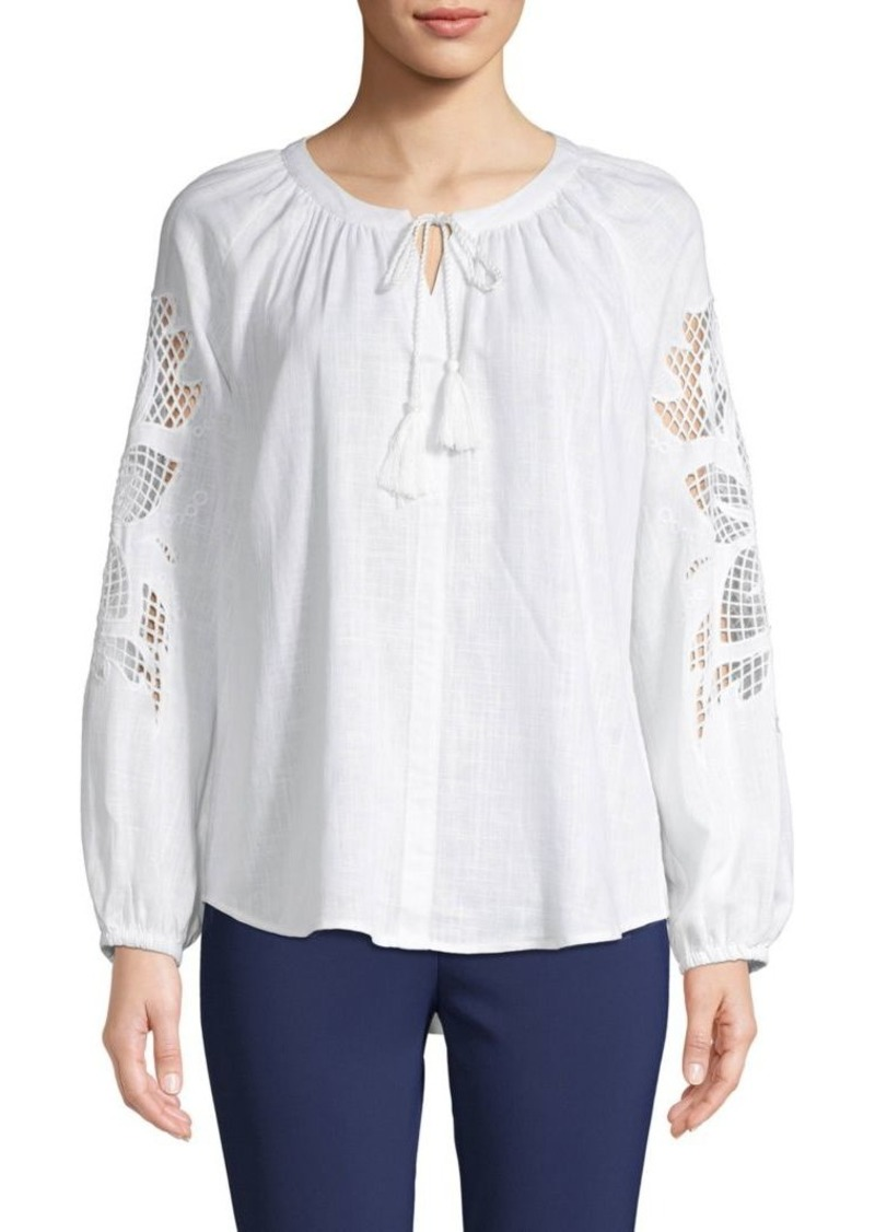 Saks Fifth Avenue Cut-Out Linen Top