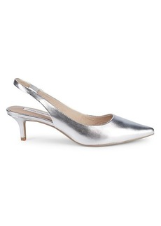 Saks Fifth Avenue Daria Leather Kitten-Heel Slingback Pumps