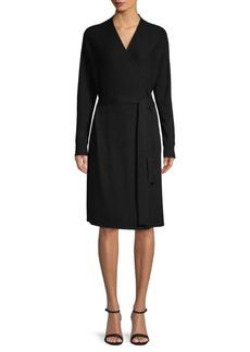 Saks Fifth Avenue Dolman Sleeve Wool-Blend Wrap Dress