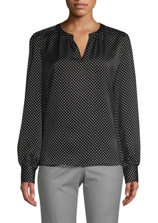 Saks Fifth Avenue Dot-Print Long-Sleeve Blouse