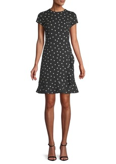 Saks Fifth Avenue Dotted Short-Sleeve Crepe Dress