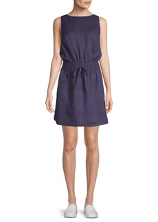 Saks Fifth Avenue Drawstring Waist Linen Dress
