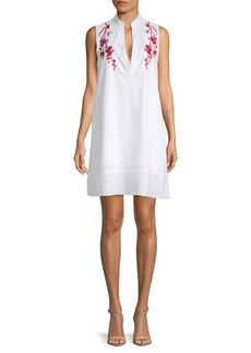 Saks Fifth Avenue Embroidered Cotton Shift Dress