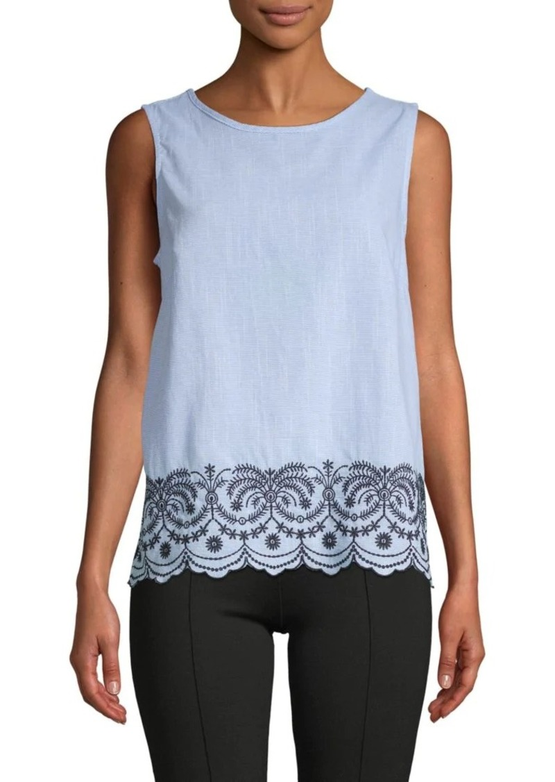 Saks Fifth Avenue Embroidered Cotton Tank Top