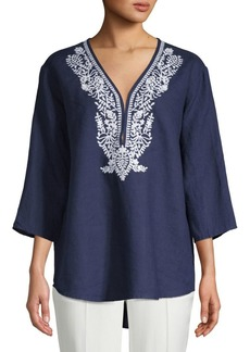 Saks Fifth Avenue Embroidered Linen Top