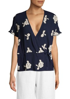 Saks Fifth Avenue Embroidered Wrap Top