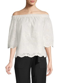Saks Fifth Avenue Eyelet Off-The-Shoulder Cotton Top