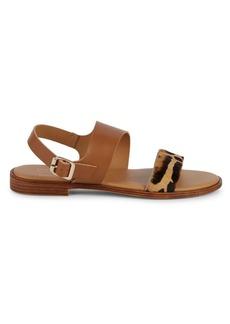 Saks Fifth Avenue Faux Fur Animal Strap Slingback Sandals