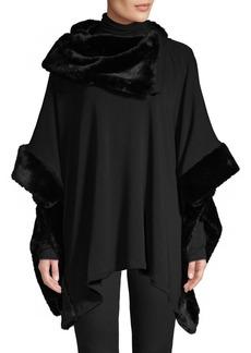 Saks Fifth Avenue Faux Fur Asymmetric Poncho