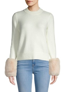 Saks Fifth Avenue Faux Fur Cuff Crew Sweater