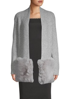 Saks Fifth Avenue Faux Fur Pocket Cardigan