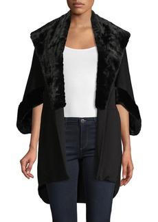 Saks Fifth Avenue Faux Fur-Trim Open Poncho