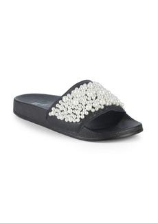 Saks Fifth Avenue Faux Pearl-Embellished Leather Slides