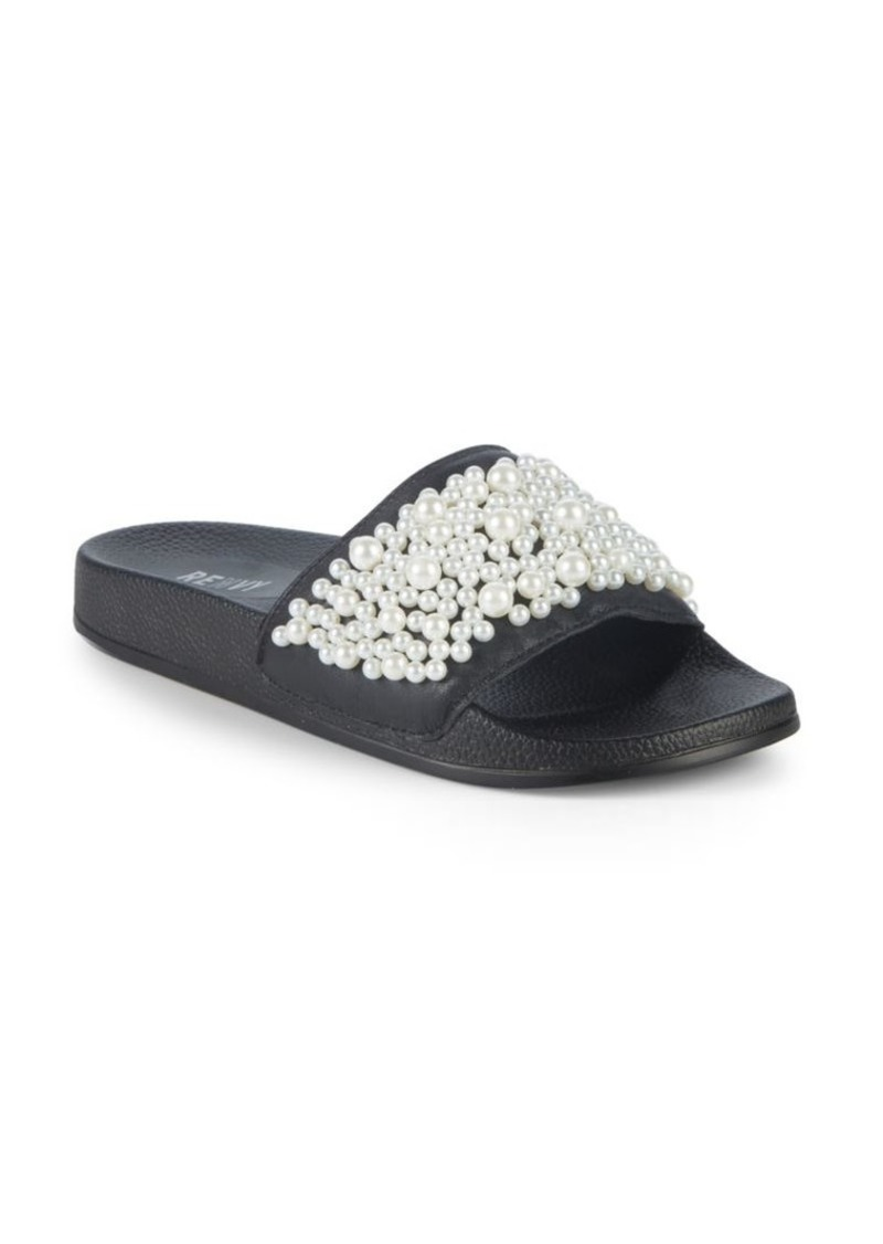 Saks Fifth Avenue Faux Pearl-Embellished Leather Slides