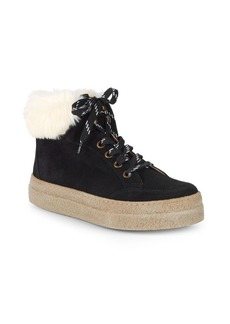 Saks Fifth Avenue Faux Shearling-Lined & Suede Platform Sneakers
