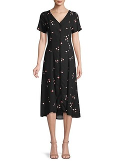 Saks Fifth Avenue Floral Button-Up Flare Dress