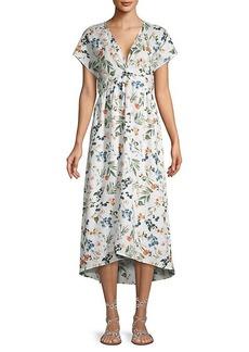 Saks Fifth Avenue Floral-Print Linen A-Line Dress