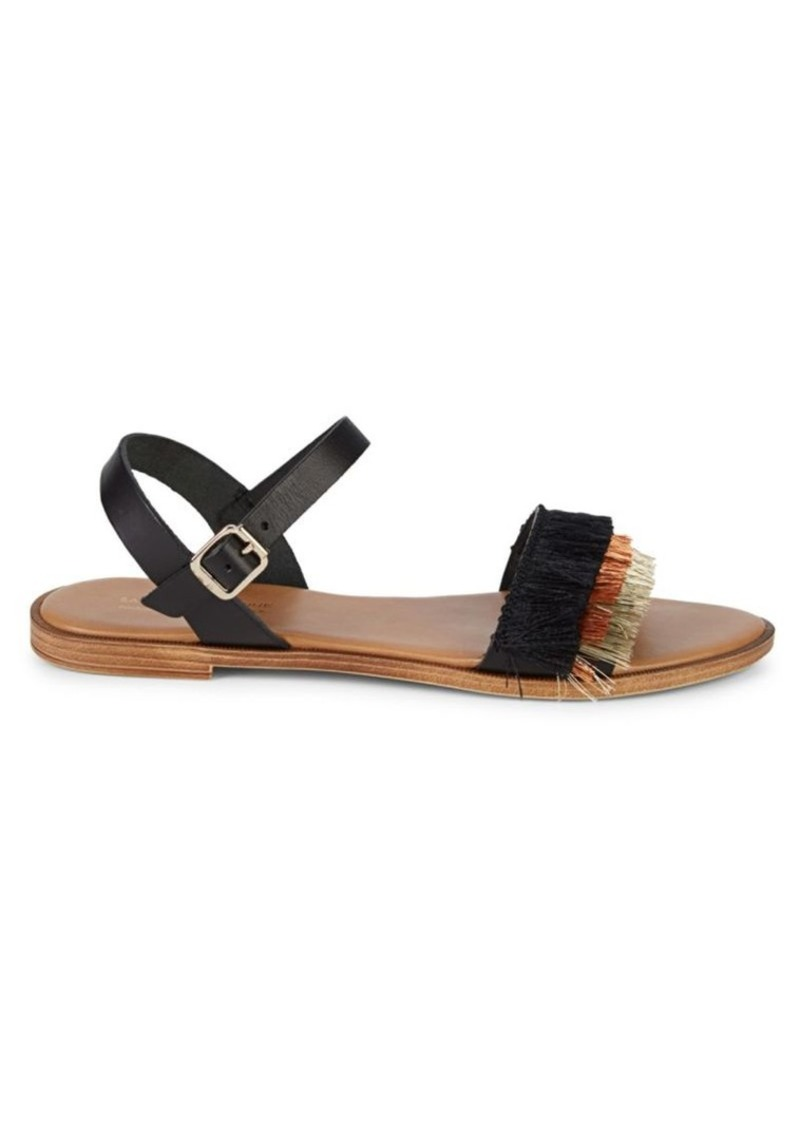 Saks Fifth Avenue Frayed Leather Slingback Sandals