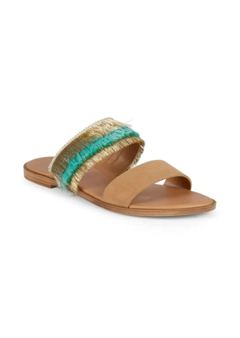 Saks Fifth Avenue Frayed Suede Slides