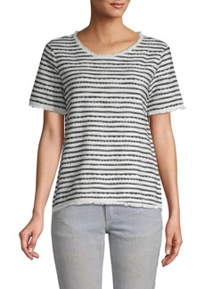 Saks Fifth Avenue Frayed-Trim Crewneck Tee
