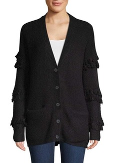 Saks Fifth Avenue Fringed-Sleeve Textured Cardigan