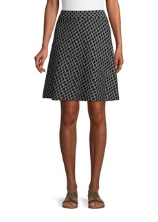Saks Fifth Avenue Geometric-Print Cotton Blend A-Line Skirt