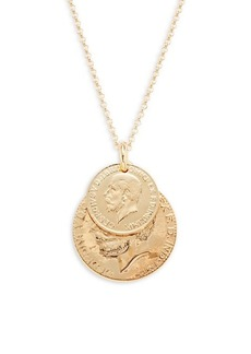 Saks Fifth Avenue Goldplated Sterling Silver Double Coin Pendant Necklace