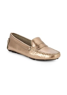 Saks Fifth Avenue Honeycomb Embossed metallic Leather Penny Drivers