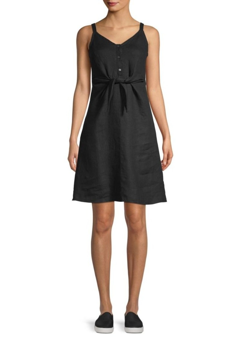 Saks Fifth Avenue Jolie Tie-Front Linen Mini Dress