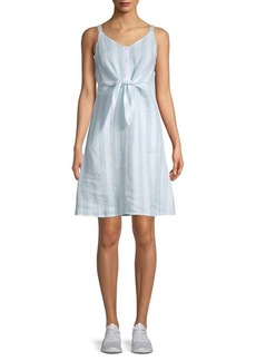 Saks Fifth Avenue Jolie Tie Front Striped Linen Mini Dress