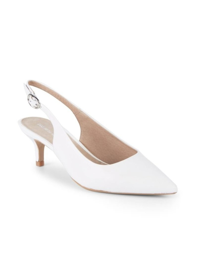 Saks Fifth Avenue Kitten Heel Leather Slingback Pumps