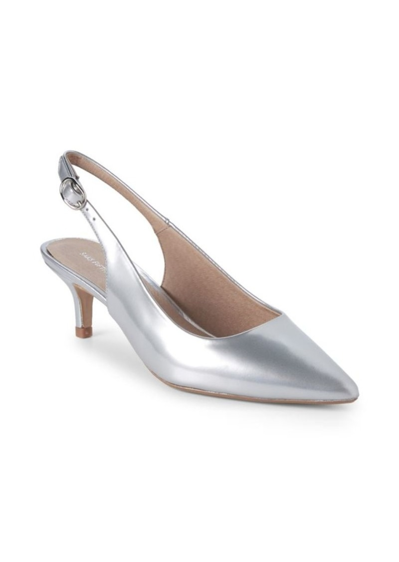 Saks Fifth Avenue Kitten Heel Metallic Leather Slingback Pumps